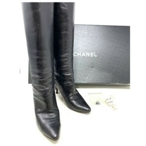100% Auth CHANEL Logo Heels Leather Boots